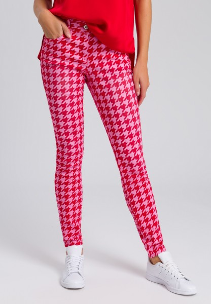 Trousers with a houndstooth pattern