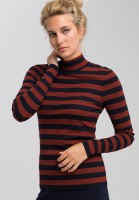 Shirt with turtleneck in block stripes