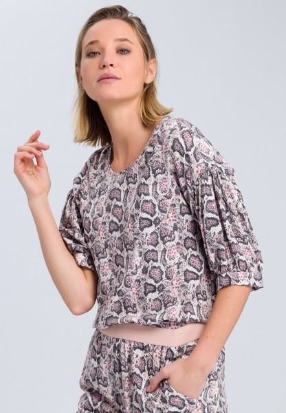 Blouse top with dark snake print