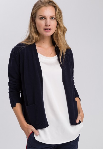 Knitted jacket in basic look with V-neckline