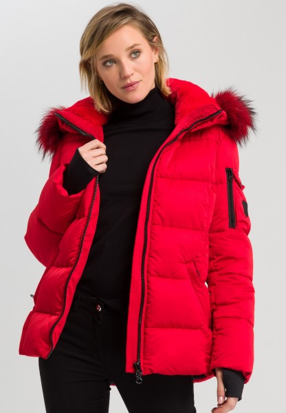 Outdoor jacket with quilting and fake fur