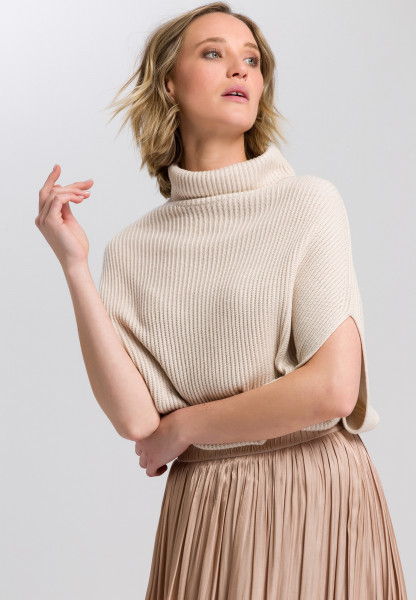 Boxy sweater with roll collar