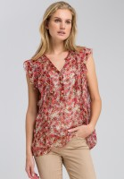 Volant blouse with floral print