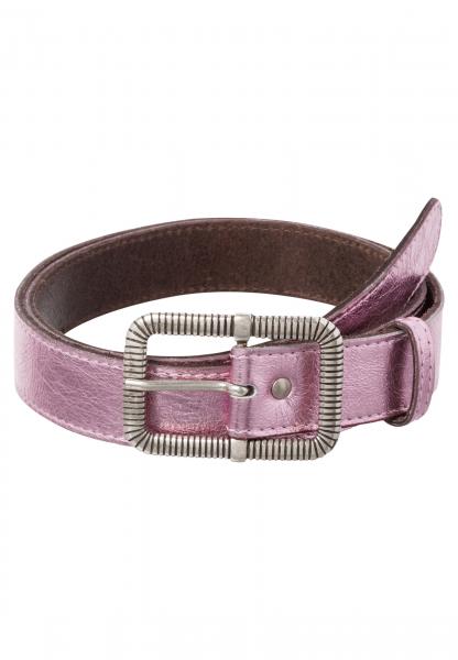 Leather belt in pink-metallic-look