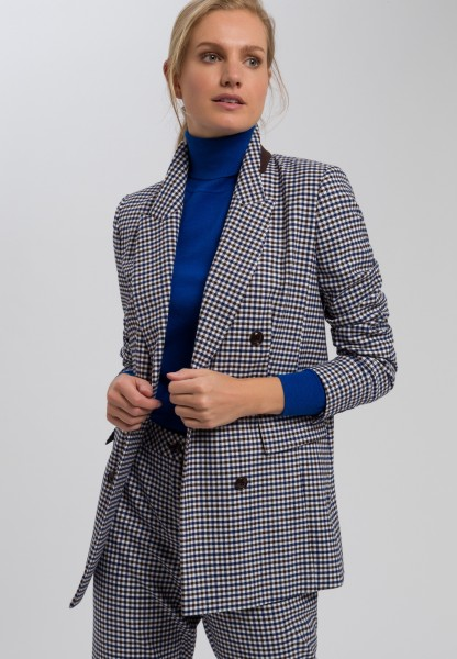 Long blazer two-tone Vichy check