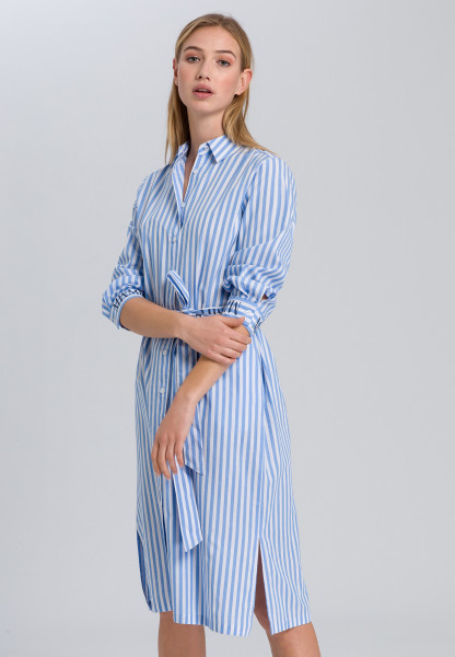 Shirt dress with delicate stripes