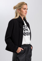 stand-up collar jacket of flowing material