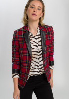 Blazer in tartan check with faux leather details