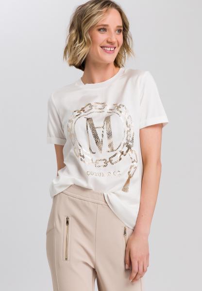 Shirt blouse with metallic print