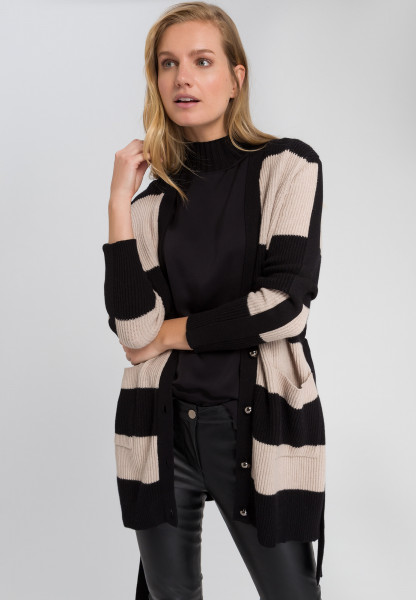 Cardigan with block stripes