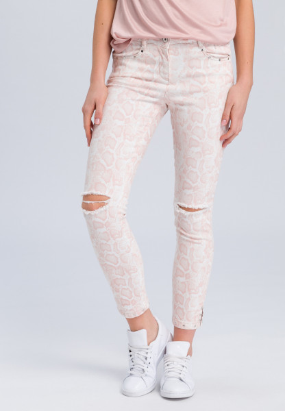 Jeans with light snake print and Destroys
