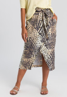 Wrap skirt with tropical print