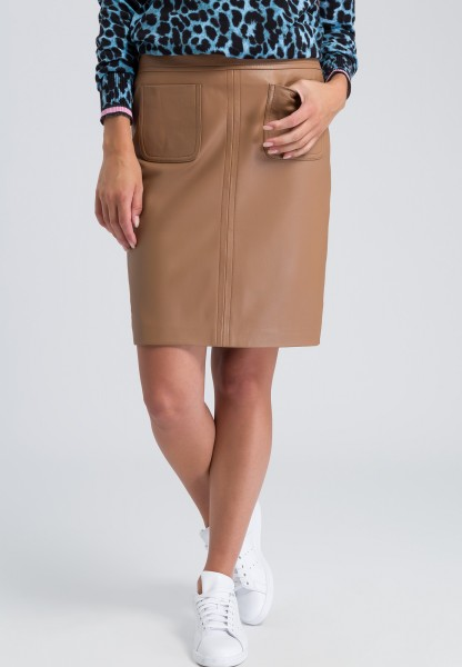 Lamb leather skirt with pockets