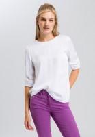 Shirt blouse with ribbed hem