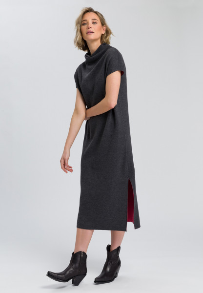 Knitted dress with turtleneck