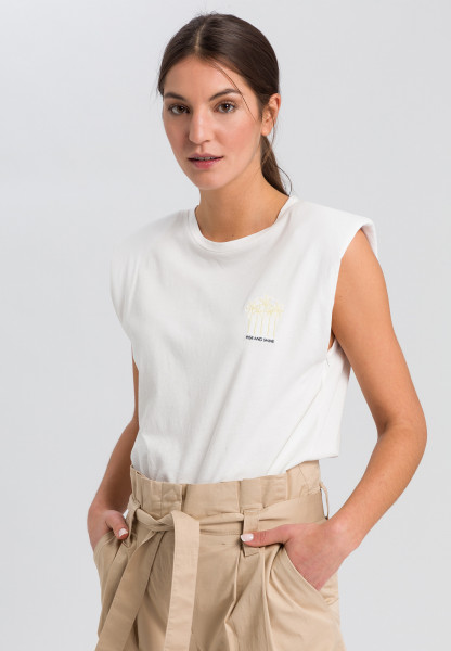 Top with palm tree embroidery