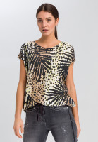 Knitted shirt with tropical print