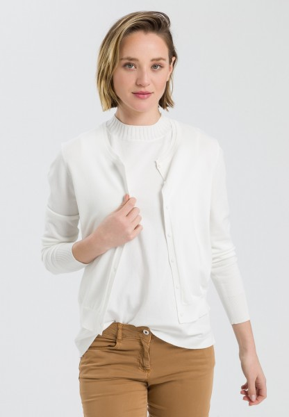 Basic cardigan with double aperture