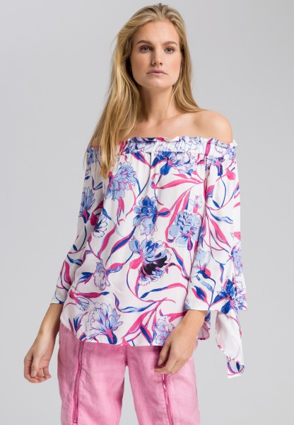 Bardot blouse with floral pattern