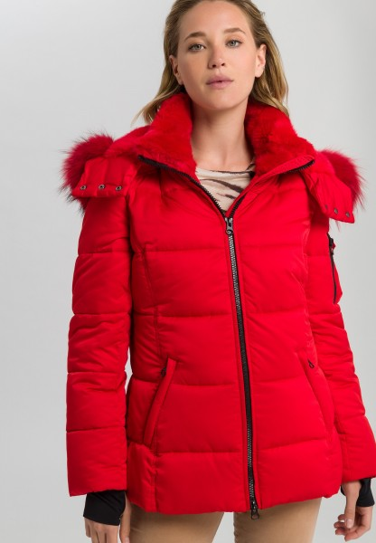 Outdoor jacket with cross stitching and real fur