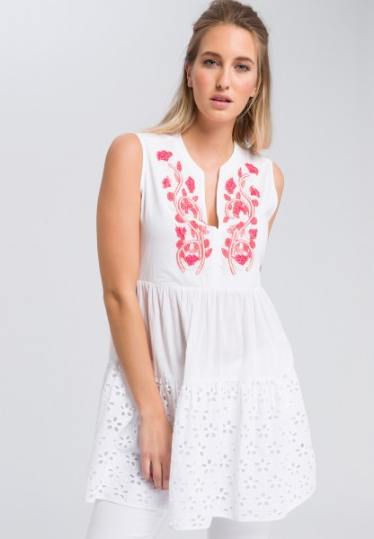 Tunic blouse with pearl embroidery