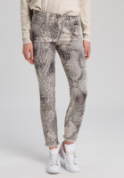 Five-pocket trousers in snake print