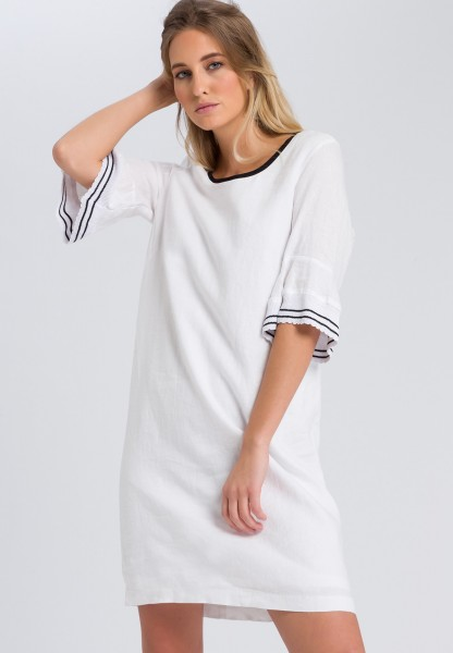 Linen dress with flounce sleeves