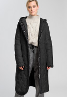 Outdoor coat with decorative quilting and motto print