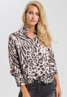 Stand-up collar blouse with animal print