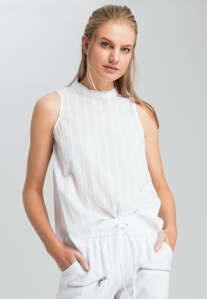 Blouse top with lace stand-up collar