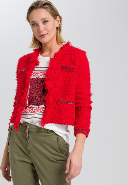 Knitted jacket with metal chains