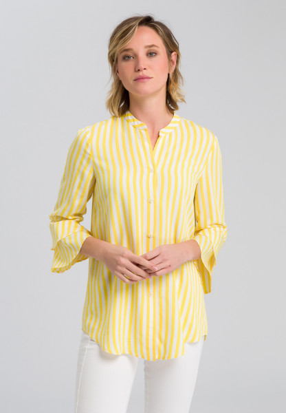 Striped blouse with trumpet sleeves