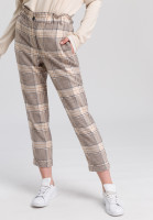 Paper bag trousers with chequered pattern