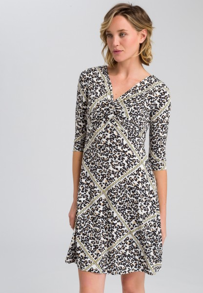Jersey dress With leopard print and chain