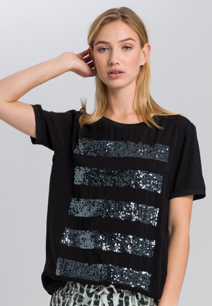 T-shirt with sequin stripes