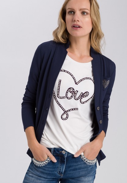 Shirt jacket with applique
