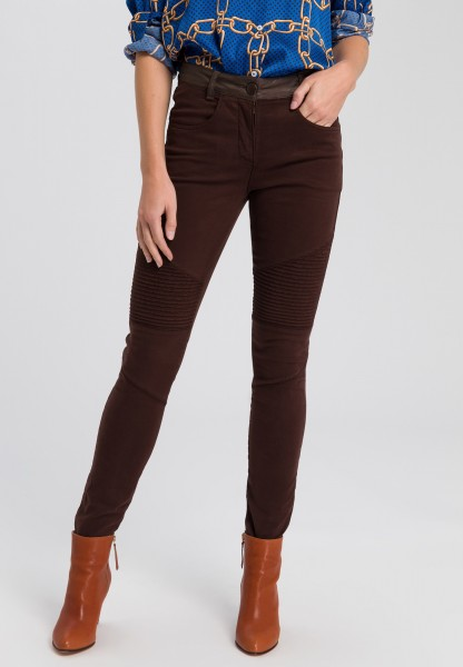 Biker trousers with imitation leather waistband