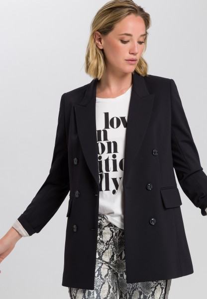 Long blazer with double row buttons
