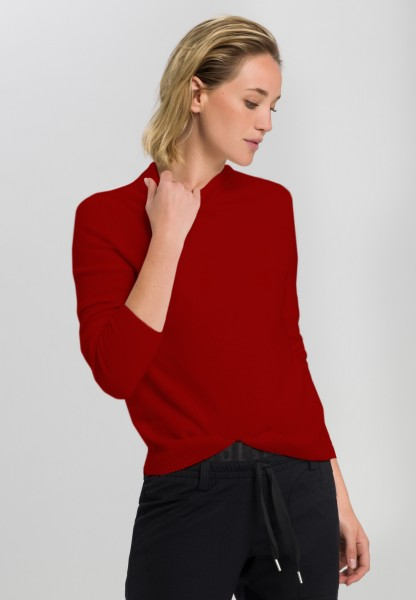 Cashmere sweater with ascending rib terminations