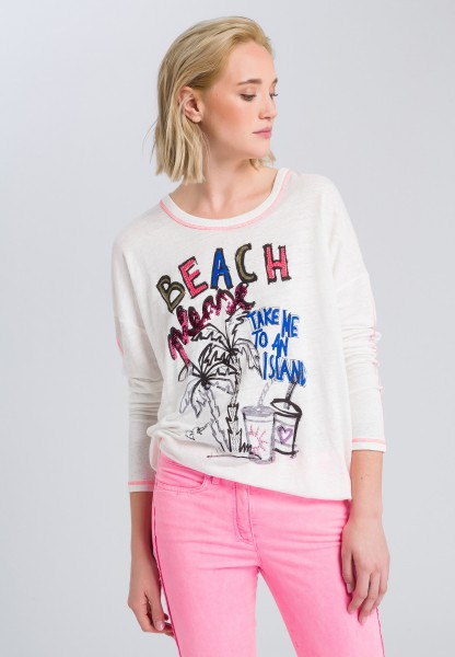 Long-sleeve shirt with glitter effects
