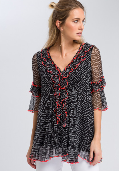 Printed tunic with ruffle details