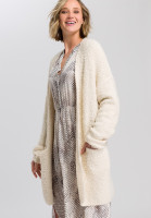 Knitted coat fur-look