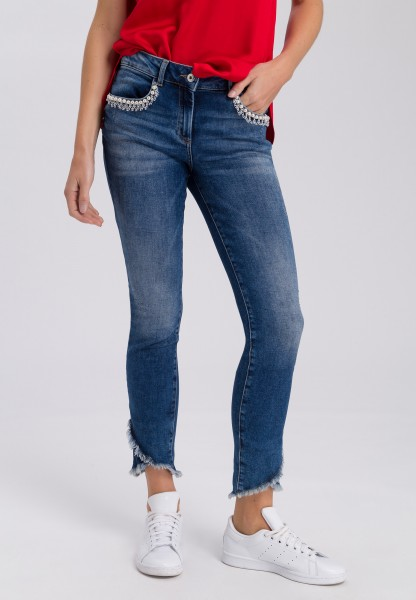 Jeans with decorative bead detail