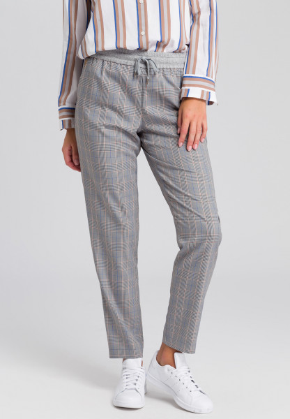 Jogger pants with check pattern