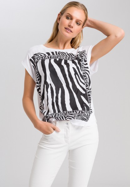 T-shirt with zebra front print