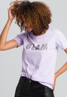 T-shirt with rhinestone lettering