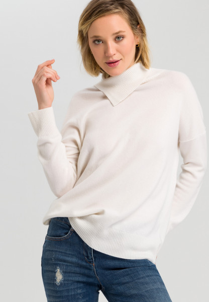 Cashmere sweater with asymmetrical roll collar