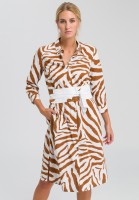 Shirt blouse dress with tiger-allover pattern