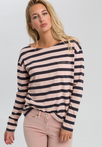 Striped shirt with rhinestones