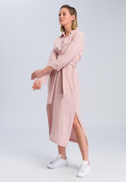 Linen dress stripe look